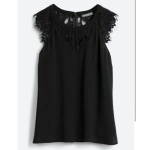 Brixon Ivy lace detail cap sleeve top